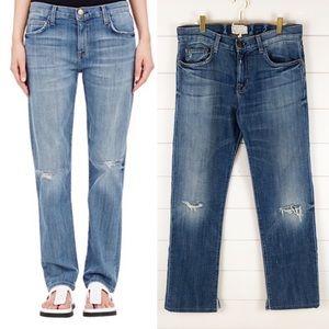 Current Elliot Long Boyfriend Distressed Jeans